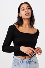 Damski T-shirt basic z długimi rękawami Serena czarny
