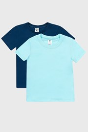 2 PACK niebieskich chłopięcych T-shirtów