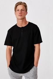 Czarny T-shirt Henley