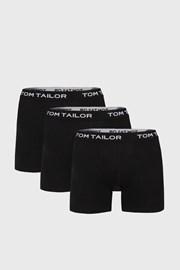 Trójpak dłuższych czarnych bokserek Tom Tailor