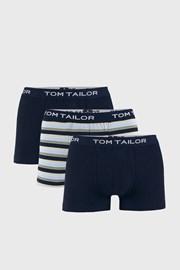 3 PACK niebieskich bokserek Tom Tailor Elastic