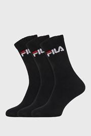 3 PACK czarnych wysokich skarpetek FILA