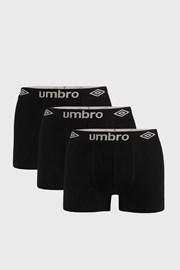 3 PACK czarnych bokserek Umbro Organic Cotton