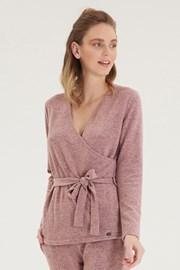Damska różowa kopertowa bluzka z długim rękawem