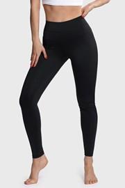 Damskie czarne legginsy sportowe Belly Control