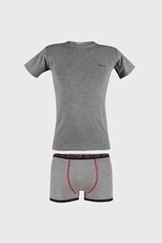 Szary komplet: chłopięce bokserki i T-shirt