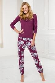 Damski długi komplet piżamowy bordowy