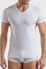 Męski T-shirt V Neck biały