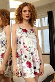 Krótka satynowa koszula Flowers biała