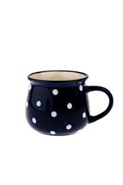 Mały ceramiczny kubek w kropki - niebieski