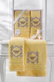 Podarunkowy komplet ręczników żółty