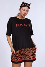 Komplet: piżama i maska do spania DKNY Brown Animal