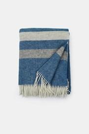 Luksusowy wełniany koc Stripe niebieski