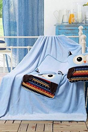 Dziecięca poduszka i kocyk w jednym - Sowa niebieska