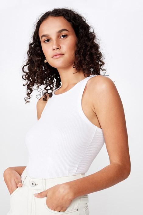 Damska koszulka na ramiączkach basic Turnback biała