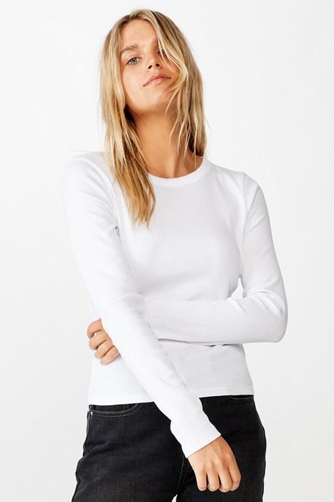 Damski T-shirt basic z długimi rękawami Turn biały