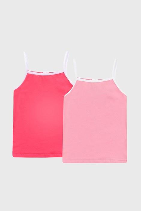 2 PACK dziewczęcych różowych podkoszulków basic