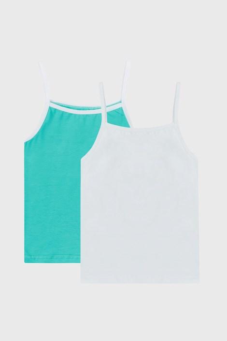 2 PACK dziewczęcych biało-zielonych podkoszulków basic