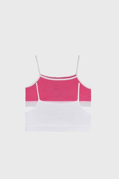2 PACK dziewczęcych topów basic różowo-biały