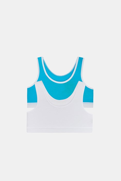 2 PACK dziewczęcych topów basic Crop biało-niebieski