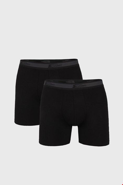 2 PACK czarnych bokserek z dłuższymi nogawkami UOMO