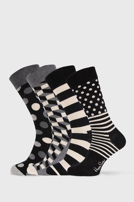 4 PACK skarpetek Happy Socks Black and White