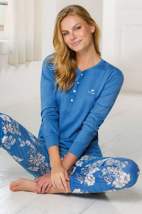 Damski długi komplet piżamowy niebieski