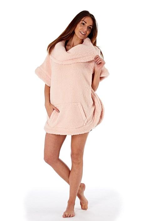 Ciepły damski szlafrok Poncho Pink