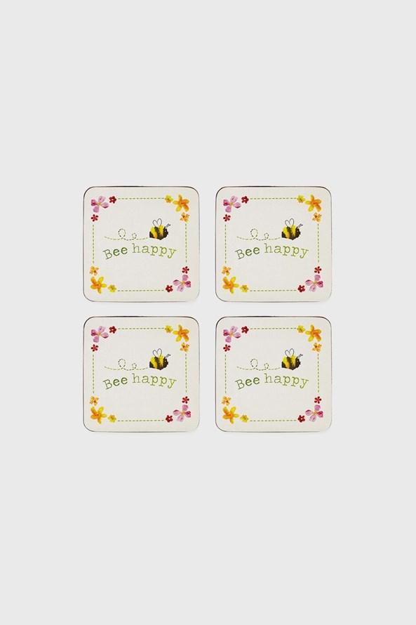 Komplet korkowych podkładek pod kubki Bee Happy