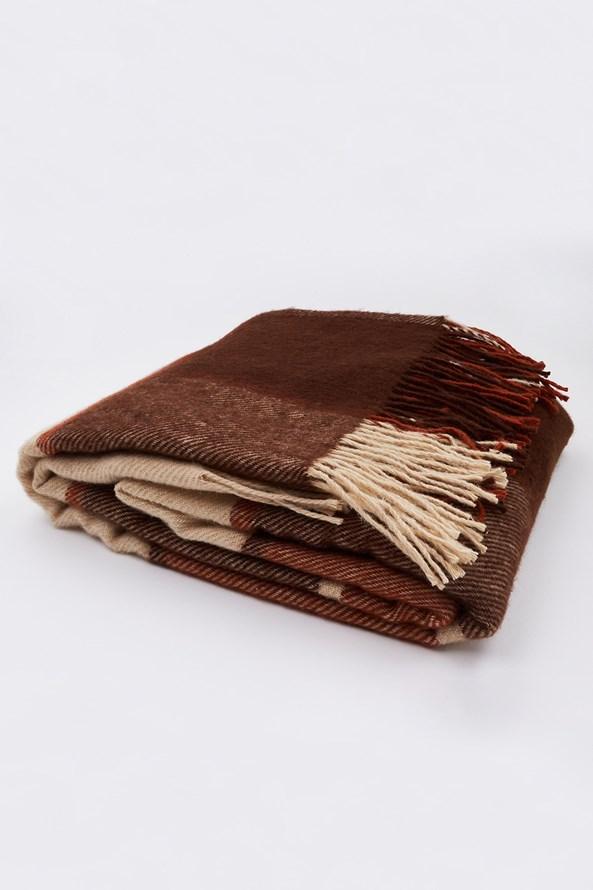 Luksusowy koc z nowozelandzkiej wełny - brązowy