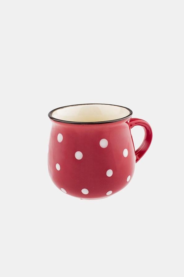 Ceramiczny kubek w groszki czerwony 230 ml