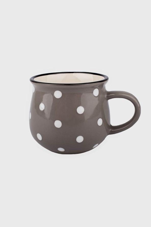 Mały ceramiczny kubek w kropki - szary 230 ml