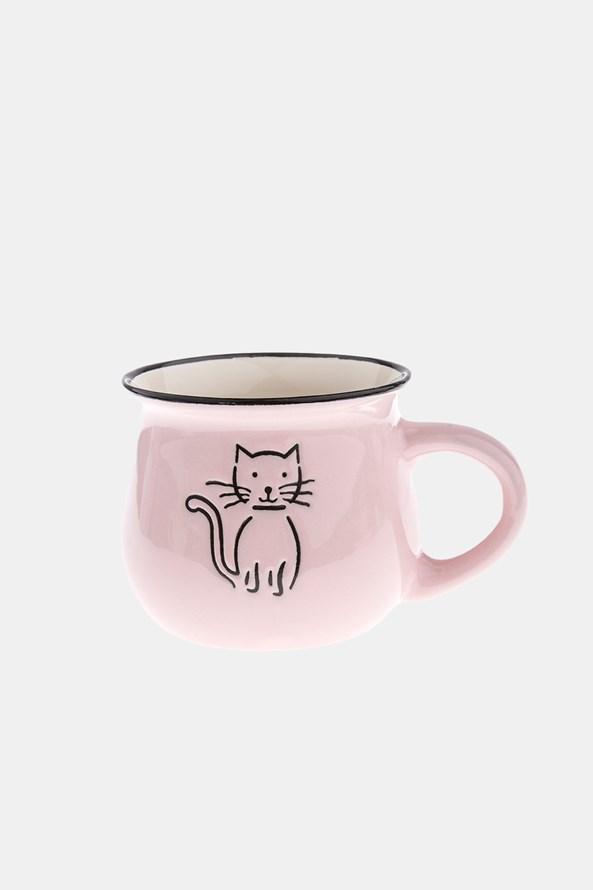 Ceramiczny kubek z kotem różowy 368 ml
