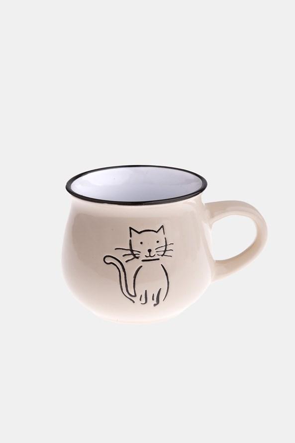 Ceramiczny kubek z kotem kremowy 213 ml