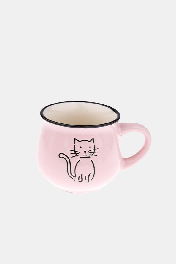 Ceramiczny kubek z kotem różowy 213 ml