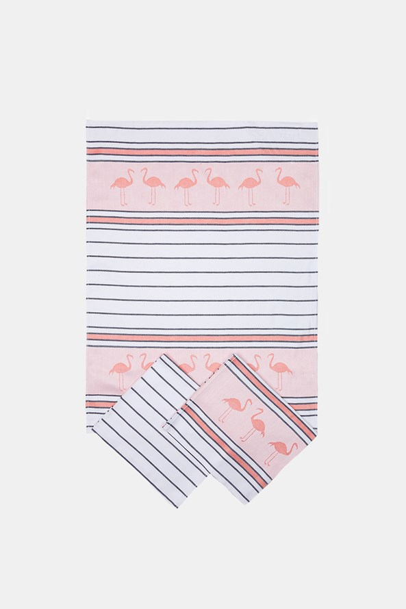 KOMPLET 3 ścierek kuchennych Flamingo