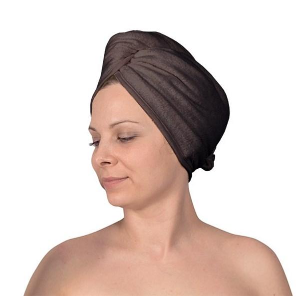 Turban na włosy szary
