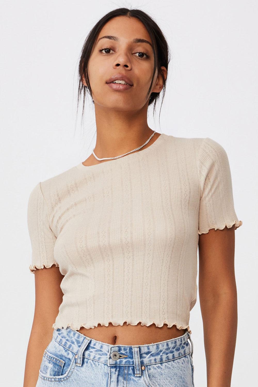 Damski T-shirt z krótkim rękawem Pointelle Crop beżowy