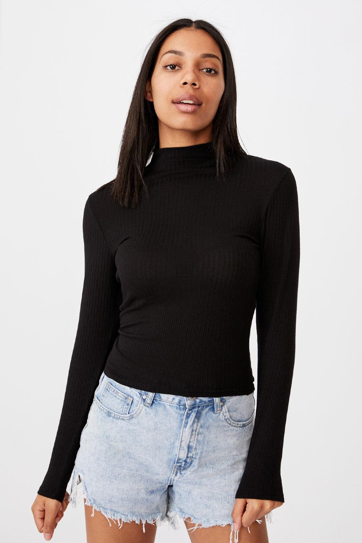 Damski T-shirt basic z golfem Mila czarny
