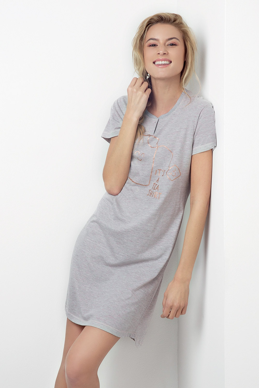 Koszula nocna Tea Shirt szaroróżowa